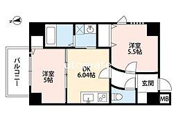 アリスマナーガーデン四天王寺 3階2DKの間取り