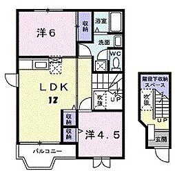 福岡県北九州市八幡西区中の原3丁目の賃貸アパートの間取り