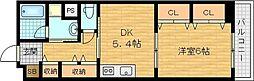 パインヴィレッジ 4階1DKの間取り