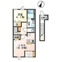 君津市南子安新築アパート 2階1LDKの間取り