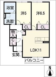 シュエットB棟[1階]の間取り