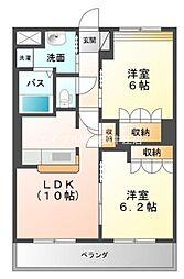 岡山県倉敷市中畝2丁目の賃貸マンションの間取り
