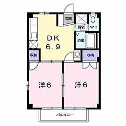 長野県千曲市大字上山田の賃貸アパートの間取り