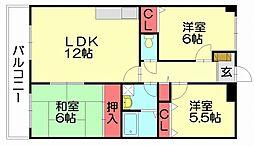 大産空港南ビル[4階]の間取り