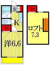 千葉県習志野市藤崎3丁目の賃貸アパートの間取り