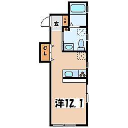 グランドソレイユ元町 2階ワンルームの間取り