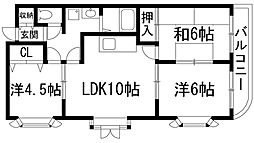 兵庫県伊丹市荻野5丁目の賃貸マンションの間取り