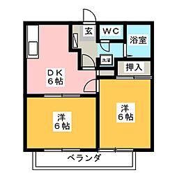 静岡県沼津市大平の賃貸アパートの間取り