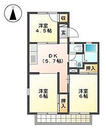 サンハイツ岩田 B棟[2階]の間取り