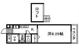 ベルリード岸和田[2階]の間取り