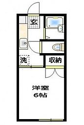 小田急小田原線 玉川学園前駅 徒歩15分の賃貸アパート 1階1Kの間取り