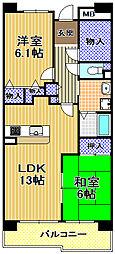 酉島リバーサイドヒルなぎさ街15号棟[6階]の間取り
