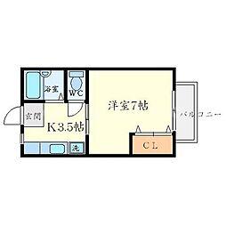 フィールズ箕面II[1階]の間取り