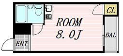 ルミナス福島 2階ワンルームの間取り
