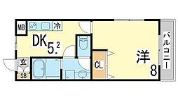 兵庫県神戸市須磨区稲葉町2丁目の賃貸アパートの間取り