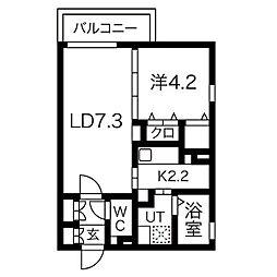 名鉄名古屋本線 本笠寺駅 徒歩3分の賃貸アパート 3階1LDKの間取り