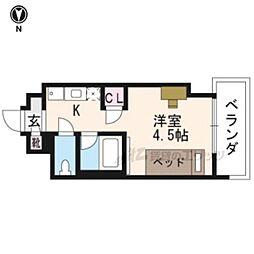 キャンパスヴィレッジ京都西京極 5階ワンルームの間取り