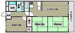 大阪府河内長野市喜多町の賃貸マンションの間取り