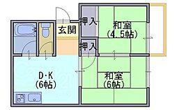 ガーデンハイツ安井[2階]の間取り