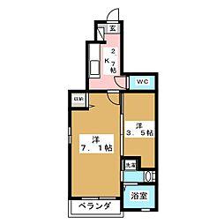 アクアコンフォートB[1階]の間取り