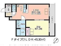 JR山手線 高田馬場駅 徒歩8分の賃貸マンション 1階1LDKの間取り