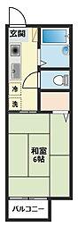 神奈川県横浜市鶴見区梶山1丁目の賃貸アパートの間取り