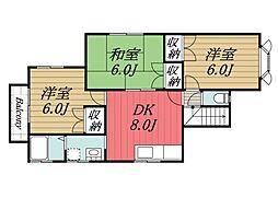 千葉県富里市十倉の賃貸アパートの間取り