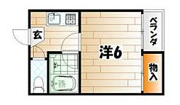 福岡県北九州市八幡西区折尾3丁目の賃貸アパートの間取り