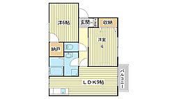 ルミエール東今宿A[A201号室]の間取り