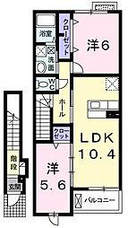 千葉県東金市田間2の賃貸アパートの間取り