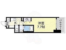 Osaka Metro御堂筋線 大国町駅 徒歩1分の賃貸マンション 14階1Kの間取り