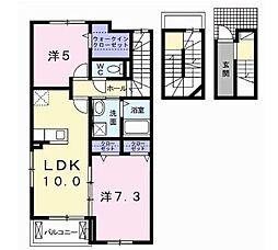 サンセールVII 3階2LDKの間取り