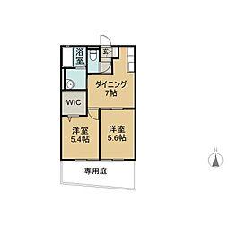 福岡県八女市立野の賃貸アパートの間取り