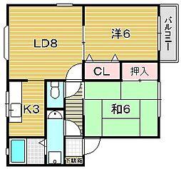 大阪府吹田市新芦屋下の賃貸アパートの間取り