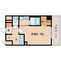 近鉄奈良線 新大宮駅 徒歩3分の賃貸マンション 5階1Kの間取り