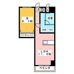 SK'BUILDING-8 8階1LDKの間取り