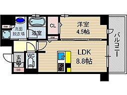 ぺスカード別院[6階]の間取り
