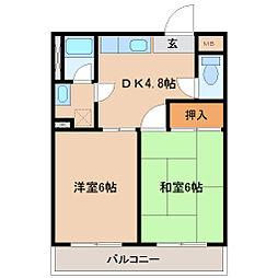 兵庫県尼崎市富松町3丁目の賃貸マンションの間取り