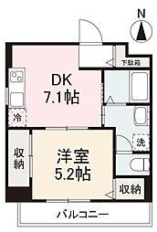 JR高徳線 栗林公園北口駅 徒歩6分の賃貸マンション 3階1DKの間取り