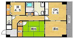 サンコート吉野[4階]の間取り