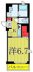 東武東上線 下板橋駅 徒歩7分の賃貸マンション 5階1Kの間取り