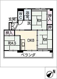 ビレッジハウス豊川 5号棟[4階]の間取り