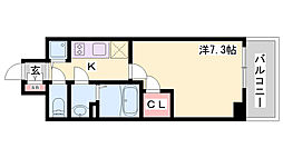 エスリード神戸ハーバーテラス 3階1Kの間取り