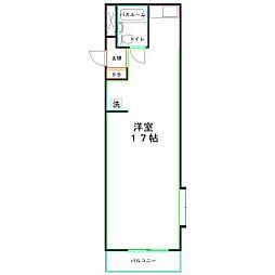 JR中央本線 西国分寺駅 徒歩12分の賃貸マンション 4階ワンルームの間取り