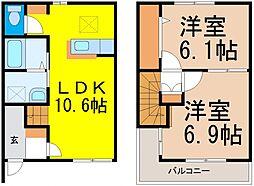[テラスハウス] 栃木県真岡市上高間木1丁目 の賃貸【/】の間取り