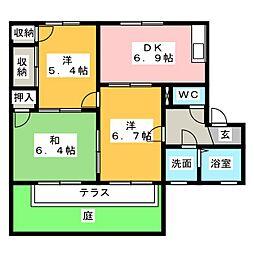 フローレンスA棟[1階]の間取り