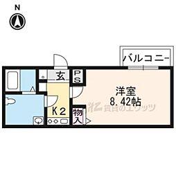 京都市営烏丸線 今出川駅 徒歩18分の賃貸マンション 2階1Kの間取り