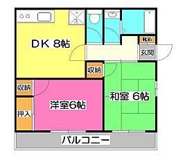 埼玉県所沢市林3丁目の賃貸アパートの間取り