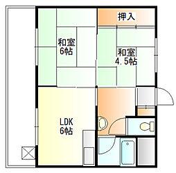 コーポ富田[1階]の間取り