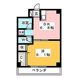 ジュネス西湘 4階1DKの間取り